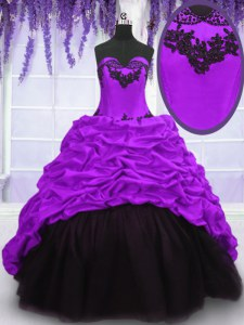 Purple Lace Up Sweetheart Appliques and Pick Ups Sweet 16 Quinceanera Dress Taffeta Sleeveless Sweep Train