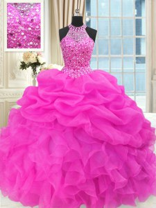 Hot Pink Lace Up Sweet 16 Dresses Beading and Pick Ups Sleeveless Floor Length