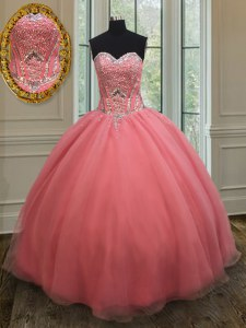 Chic Watermelon Red Ball Gowns Sweetheart Sleeveless Organza Floor Length Lace Up Beading and Belt 15th Birthday Dress