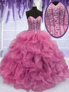 Organza Sweetheart Sleeveless Lace Up Beading and Ruffles 15th Birthday Dress in Rose Pink