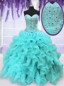 Organza Sweetheart Sleeveless Lace Up Beading and Ruffles Quinceanera Dresses in Aqua Blue