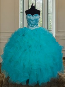 Teal Tulle Lace Up Quinceanera Dress Sleeveless Floor Length Beading and Ruffles