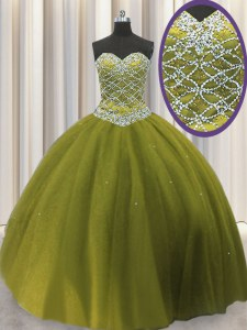 Extravagant Olive Green Tulle Lace Up Sweetheart Sleeveless Floor Length Quinceanera Gown Beading