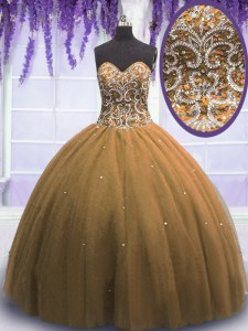 Inexpensive Floor Length Lace Up Sweet 16 Quinceanera Dress Brown for Military Ball and Sweet 16 and Quinceanera with Beading