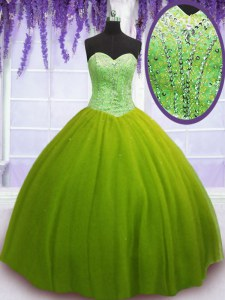 Floor Length Olive Green Quinceanera Gowns Tulle Sleeveless Beading