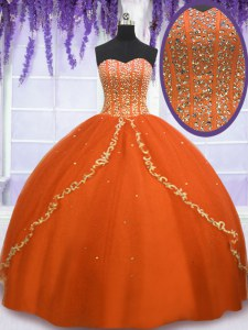 Cheap Floor Length Orange Red Quince Ball Gowns Sweetheart Sleeveless Lace Up