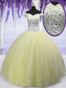 Classical Light Yellow Sweet 16 Dress Military Ball and Sweet 16 and Quinceanera and For with Beading Off The Shoulder Short Sleeves Lace Up