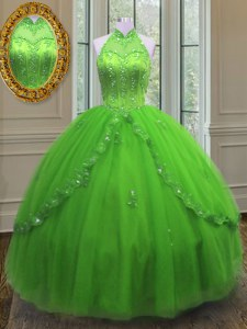 Fashion Halter Top Lace Up Quinceanera Dress Beading and Appliques Sleeveless Floor Length