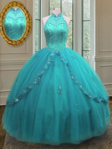High-neck Sleeveless Sweet 16 Quinceanera Dress Floor Length Beading and Appliques Aqua Blue Tulle