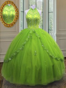 Yellow Green Lace Up High-neck Beading and Appliques Quince Ball Gowns Tulle Sleeveless