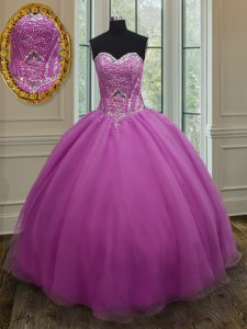 High End Fuchsia Quinceanera Dresses Military Ball and Sweet 16 and Quinceanera and For with Beading and Belt Sweetheart Sleeveless Lace Up