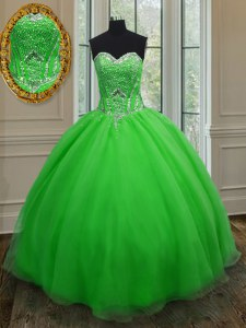 Latest Sleeveless Floor Length Beading and Belt Lace Up Sweet 16 Quinceanera Dress