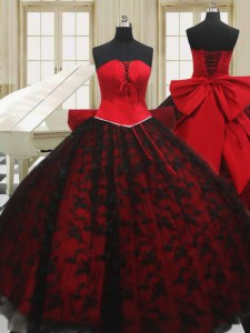 Flirting Red Ball Gowns Organza Strapless Sleeveless Beading and Bowknot Floor Length Lace Up Vestidos de Quinceanera