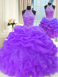 Modern Three Piece Sleeveless Beading and Pick Ups Lace Up 15 Quinceanera Dress