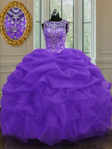 High Class Scoop Sleeveless Quinceanera Gowns Floor Length Beading and Pick Ups Eggplant Purple Organza