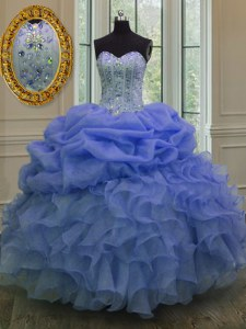 Blue Lace Up Sweetheart Beading and Pick Ups 15 Quinceanera Dress Organza Sleeveless