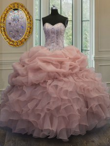Superior Sweetheart Sleeveless Quinceanera Dresses Floor Length Beading and Pick Ups Baby Pink Organza
