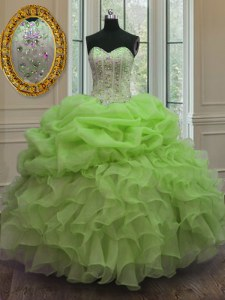 Organza Lace Up Quinceanera Dresses Sleeveless Floor Length Beading and Pick Ups