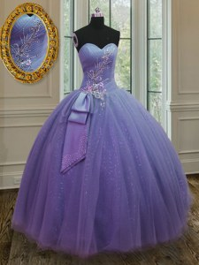 Ideal Sweetheart Sleeveless Sweet 16 Quinceanera Dress Floor Length Beading and Ruching and Bowknot Lavender Tulle and Sequined