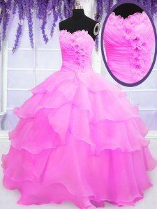 Sweetheart Sleeveless Ball Gown Prom Dress Floor Length Beading and Ruffled Layers Hot Pink Organza