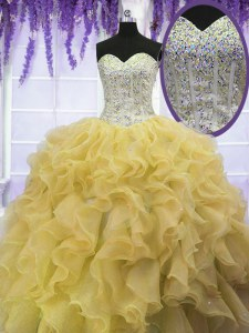 Super Sweetheart Sleeveless Organza Sweet 16 Quinceanera Dress Beading and Ruffles Lace Up