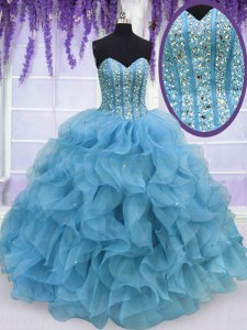 Luxury Floor Length Aqua Blue Sweet 16 Dresses Sweetheart Sleeveless Lace Up
