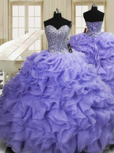 Lavender Sleeveless Sweep Train Beading and Ruffles Vestidos de Quinceanera