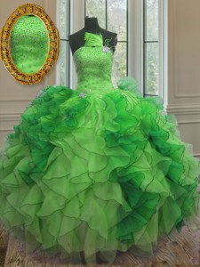 Green Lace Up Strapless Beading and Ruffles Quinceanera Dresses Organza Sleeveless