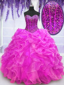Stunning Fuchsia Sweetheart Neckline Beading and Ruffles Ball Gown Prom Dress Sleeveless Lace Up