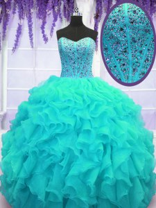 Aqua Blue Lace Up Sweet 16 Dress Beading and Ruffles Sleeveless Floor Length