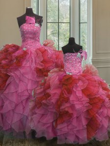 Floor Length Multi-color Quinceanera Gown Organza Sleeveless Beading and Ruffles