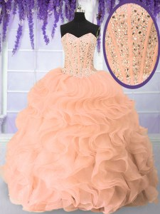 Pink Sleeveless Floor Length Beading and Ruffles Lace Up Sweet 16 Quinceanera Dress