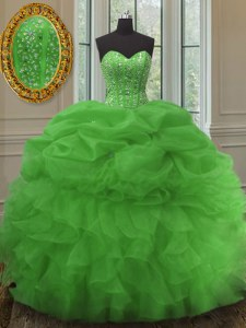 Custom Design Beading and Ruffles and Pick Ups 15th Birthday Dress Green Lace Up Sleeveless Floor Length