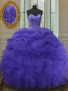 Best Selling Sleeveless Organza Floor Length Lace Up Sweet 16 Dress in Purple with Beading and Ruffles and Pick Ups