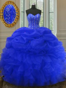 Royal Blue Organza Lace Up Quinceanera Gown Sleeveless Floor Length Beading and Ruffles and Pick Ups