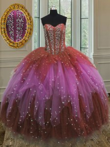 Free and Easy Sweetheart Sleeveless Tulle Sweet 16 Quinceanera Dress Beading and Ruffles and Sequins Lace Up