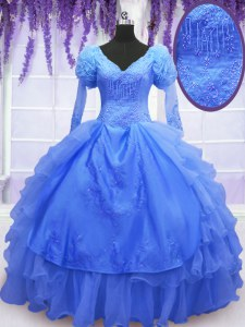 One Shoulder Blue Long Sleeves Beading and Embroidery and Hand Made Flower Floor Length Sweet 16 Dress