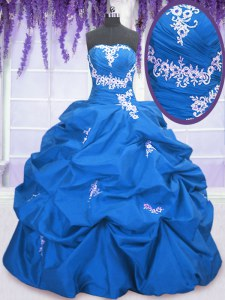 Nice Floor Length Blue Ball Gown Prom Dress Taffeta Sleeveless Appliques and Pick Ups