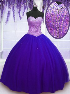 Sweetheart Sleeveless Tulle 15th Birthday Dress Beading Lace Up