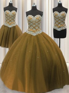 High Class Three Piece Sleeveless Floor Length Beading and Sequins Lace Up Vestidos de Quinceanera with Brown