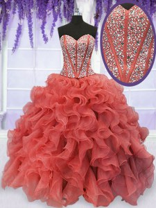 Coral Red Sleeveless Floor Length Beading and Ruffles Lace Up Vestidos de Quinceanera