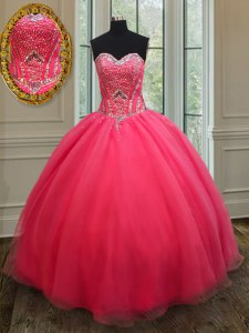 Designer Coral Red Sweetheart Lace Up Beading Sweet 16 Dress Sleeveless