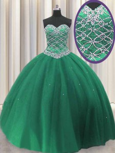 Low Price Dark Green Lace Up Quinceanera Gown Beading and Sequins Sleeveless Floor Length