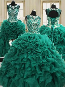 Spectacular Four Piece Dark Green Lace Up Scoop Beading and Ruffles Quince Ball Gowns Organza Sleeveless