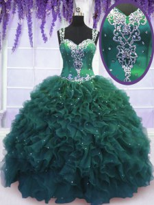 Elegant Straps Floor Length Ball Gowns Sleeveless Dark Green Quinceanera Gown Zipper
