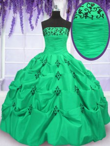 Ball Gowns Taffeta Strapless Sleeveless Embroidery and Pick Ups Floor Length Lace Up 15th Birthday Dress