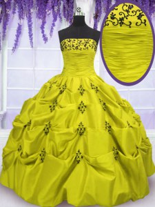 Custom Fit Olive Green Vestidos de Quinceanera Military Ball and Sweet 16 and Quinceanera and For with Embroidery and Ruffled Layers Strapless Sleeveless Lace Up