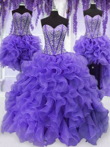 Four Piece Lavender Organza Lace Up Sweetheart Sleeveless Floor Length 15 Quinceanera Dress Embroidery and Ruffles and Ruffled Layers and Sashes ribbons