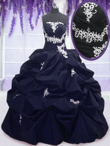 New Style Pick Ups Floor Length Ball Gowns Sleeveless Navy Blue Quince Ball Gowns Lace Up