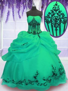 Custom Made Ball Gowns Sweet 16 Dresses Green Strapless Organza Sleeveless Floor Length Lace Up